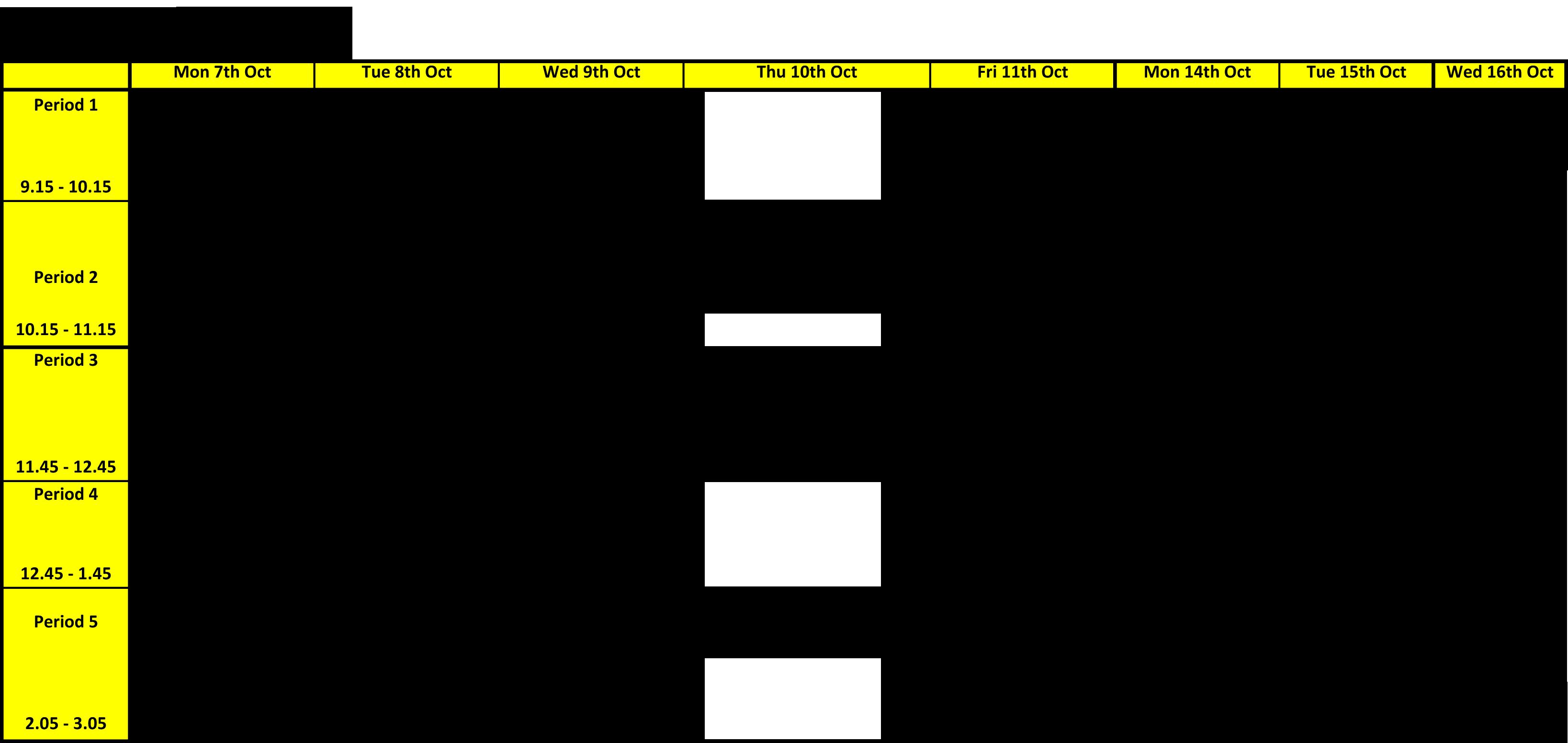 Year 8 Autumn Big Test Timetable   2019
