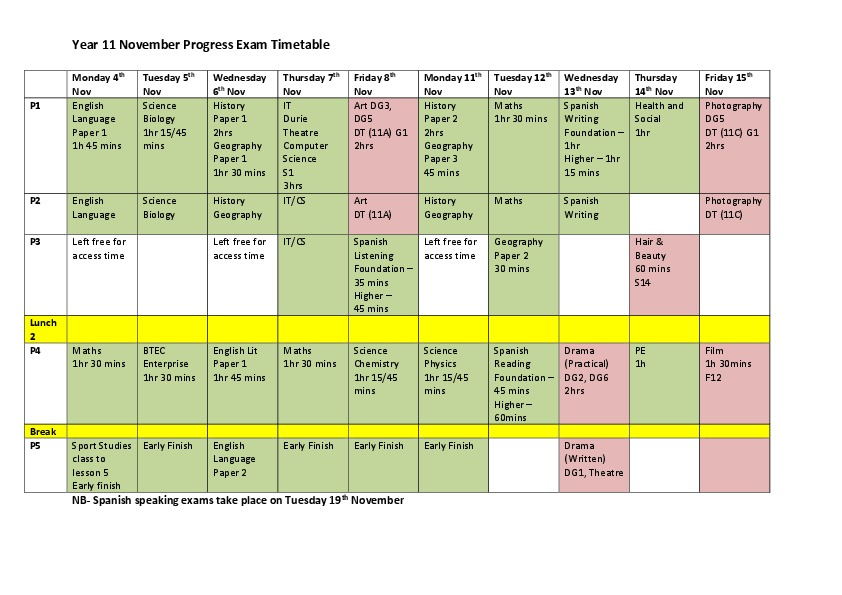 Year 11 Progress Exam Timetable   Nov 2019