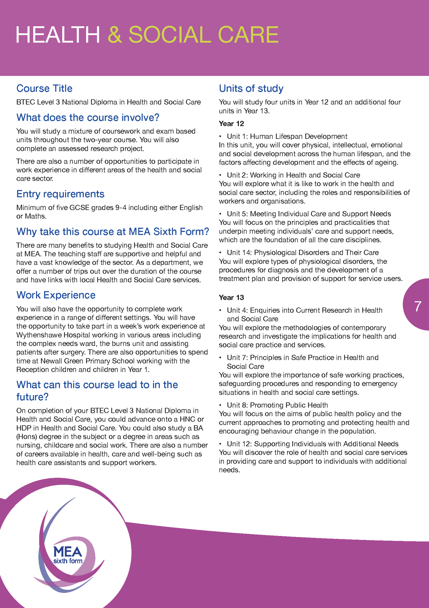 MEA Sixth Form Prospectus May 20 v4 Page 07